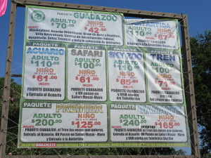 Zoo prices in pesos. Our tickets were pretty much all-inclusive for 320 pesos per person. That's a little less than $19 (including transportation) at the current exchange rate.