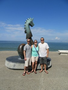 """Eric, Me, and Ryan standing in front of """"The Good Fortune Unicorn"""" (by Anibal Riebeling)"""