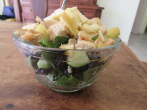 Chicken spinach salad with apple, cucumber, avocado, and blueberries