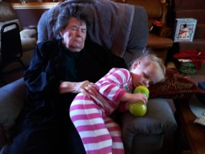Grandma Lola and her great-granddaughter.
